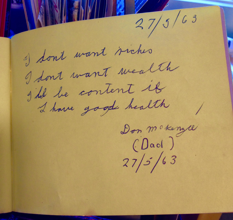 Dad's autograph