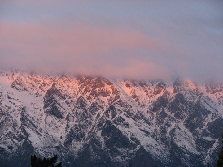sunset on remarkables in winter
