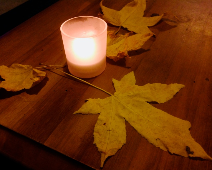autumn leaf & candle