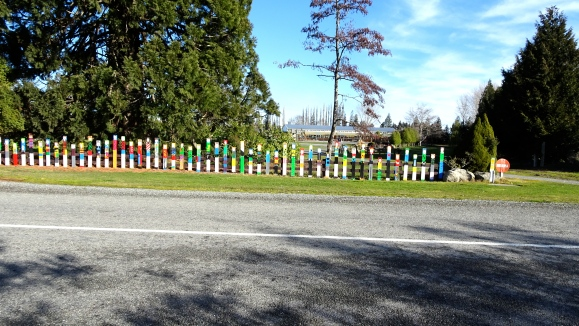 Waikaka School rainbow fence.JPG