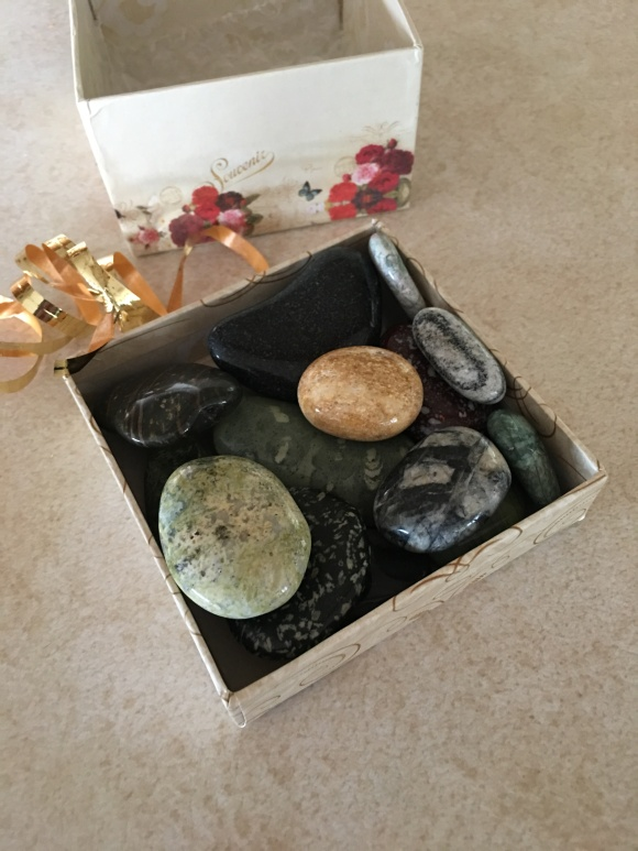 gemstones in box