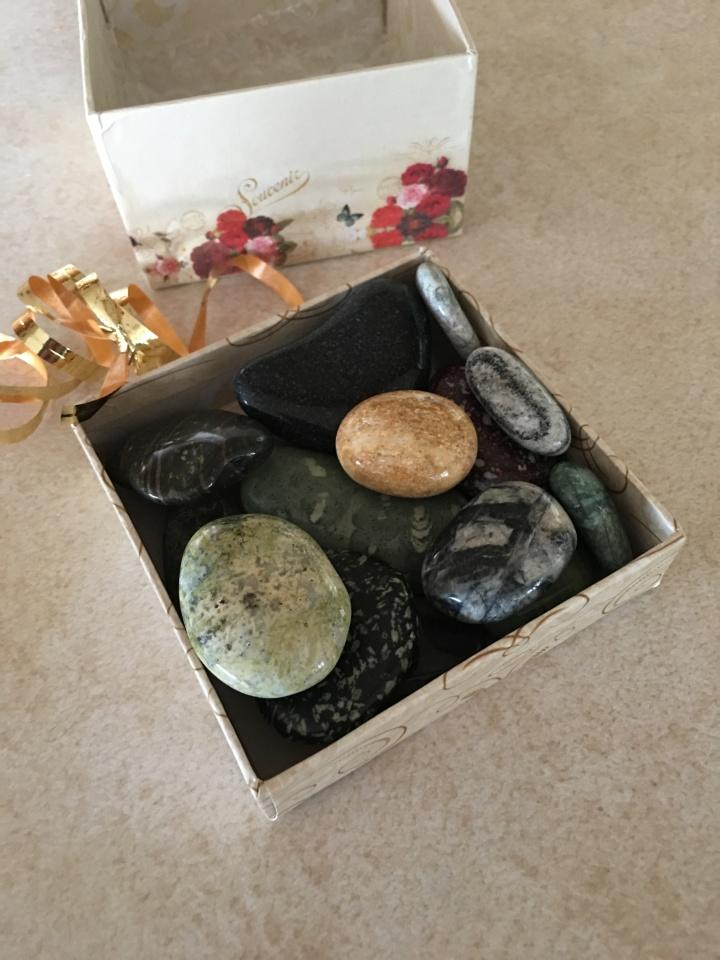 gemstones in box